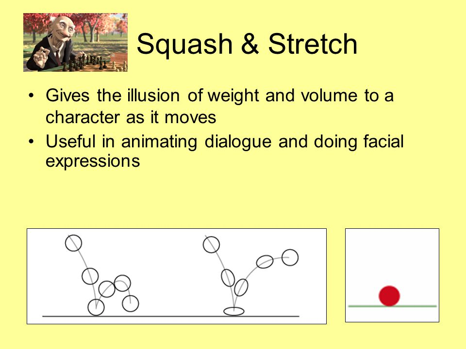 Squash & Stretch Gives the illusion of weight and volume to a character as it moves Useful in animating dialogue and doing facial expressions