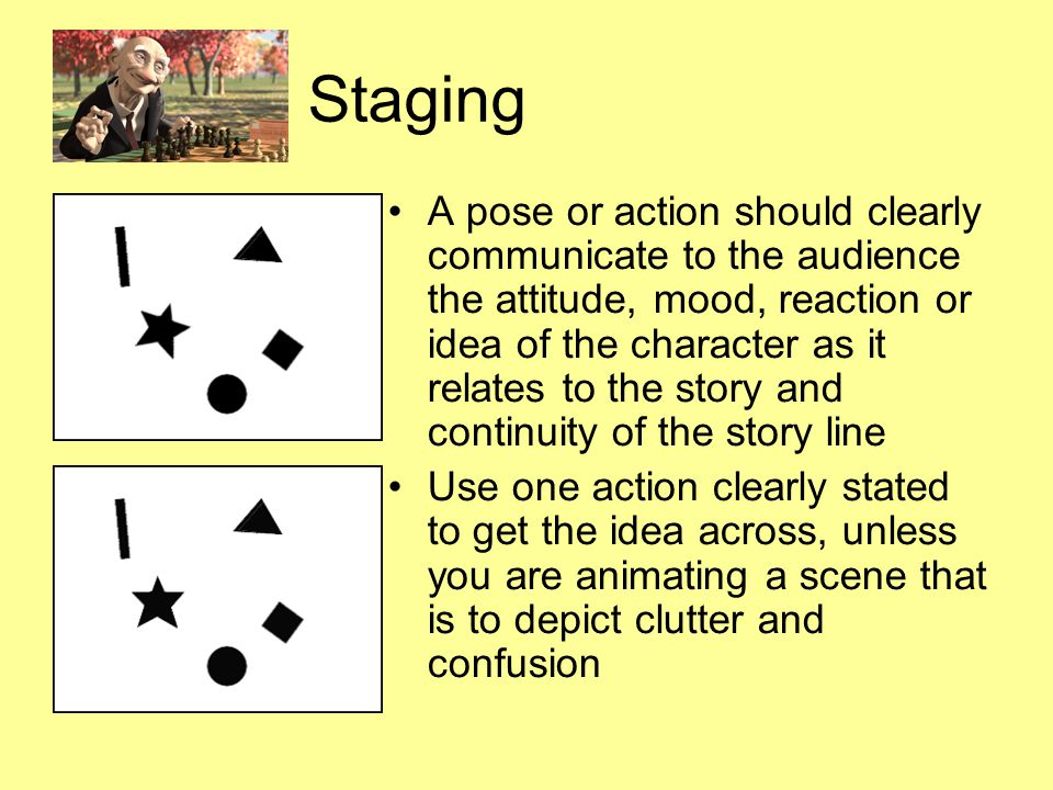 Staging Directs the audience s attention to the story or idea being told Background design should not obscure the animation or compete with it due to excess detail; should work together as a pictorial unit in a scene