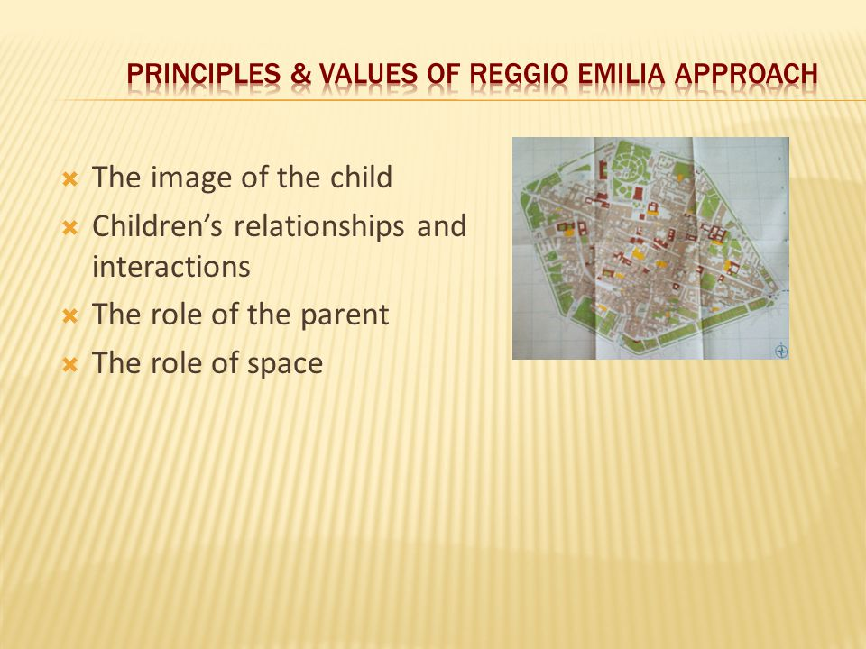  The image of the child  Children's relationships and interactions  The role of the parent  The role of space