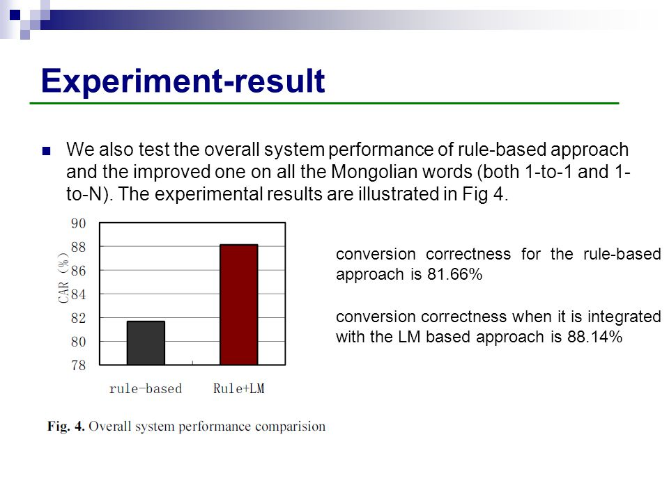Experiment-result We also test the overall system performance of rule-based approach and the improved one on all the Mongolian words (both 1-to-1 and
