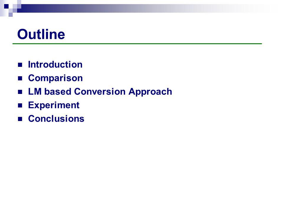 Outline Introduction Comparison LM based Conversion Approach Experiment Conclusions