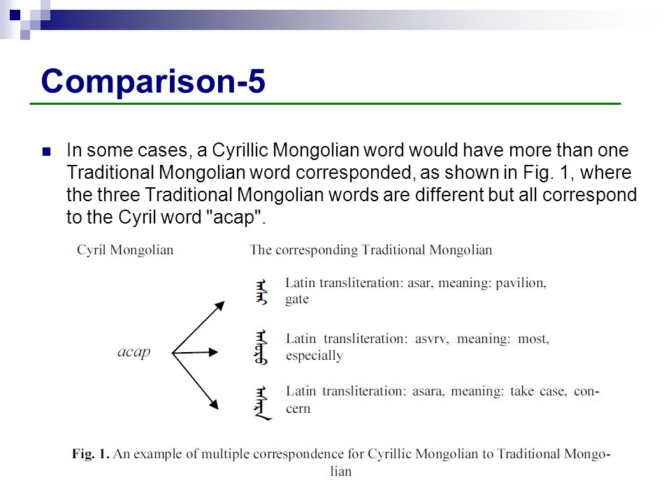 Comparison-5 In some cases, a Cyrillic Mongolian word would have more than one Traditional Mongolian word corresponded, as shown in Fig. 1, where the