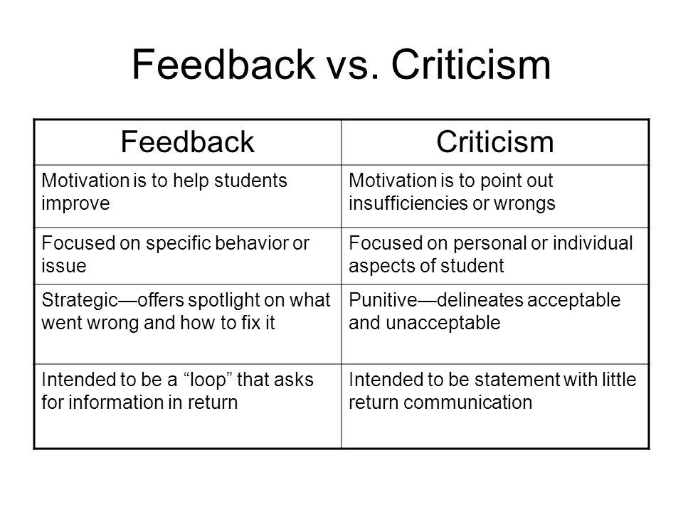 Feedback vs.