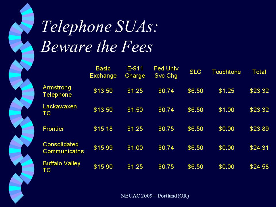 NEUAC 2009 -- Portland (OR) Telephone SUAs: Beware the Fees