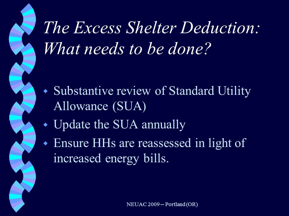 NEUAC 2009 -- Portland (OR) The Excess Shelter Deduction: What needs to be done.