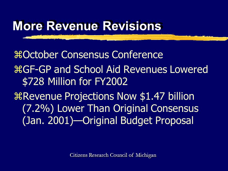 More Revenue Revisions zOctober Consensus Conference zGF-GP and School Aid Revenues Lowered $728 Million for FY2002 zRevenue Projections Now $1.47 billion (7.2%) Lower Than Original Consensus (Jan.