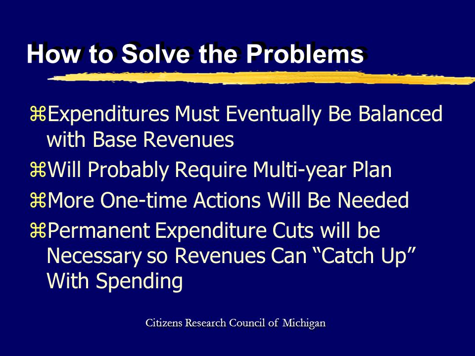 How to Solve the Problems zExpenditures Must Eventually Be Balanced with Base Revenues zWill Probably Require Multi-year Plan zMore One-time Actions Will Be Needed zPermanent Expenditure Cuts will be Necessary so Revenues Can Catch Up With Spending Citizens Research Council of Michigan