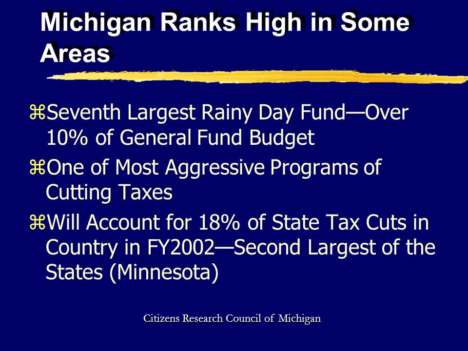 Michigan Ranks High in Some Areas zSeventh Largest Rainy Day Fund—Over 10% of General Fund Budget zOne of Most Aggressive Programs of Cutting Taxes zWill Account for 18% of State Tax Cuts in Country in FY2002—Second Largest of the States (Minnesota) Citizens Research Council of Michigan