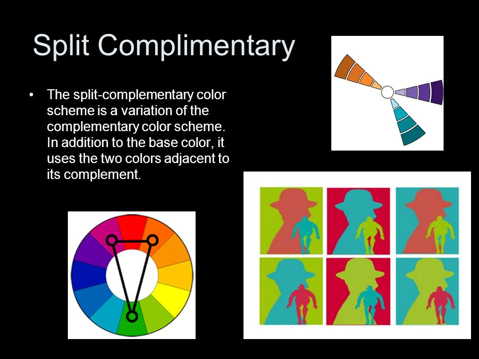 Split Complimentary The split-complementary color scheme is a variation of the complementary color scheme.