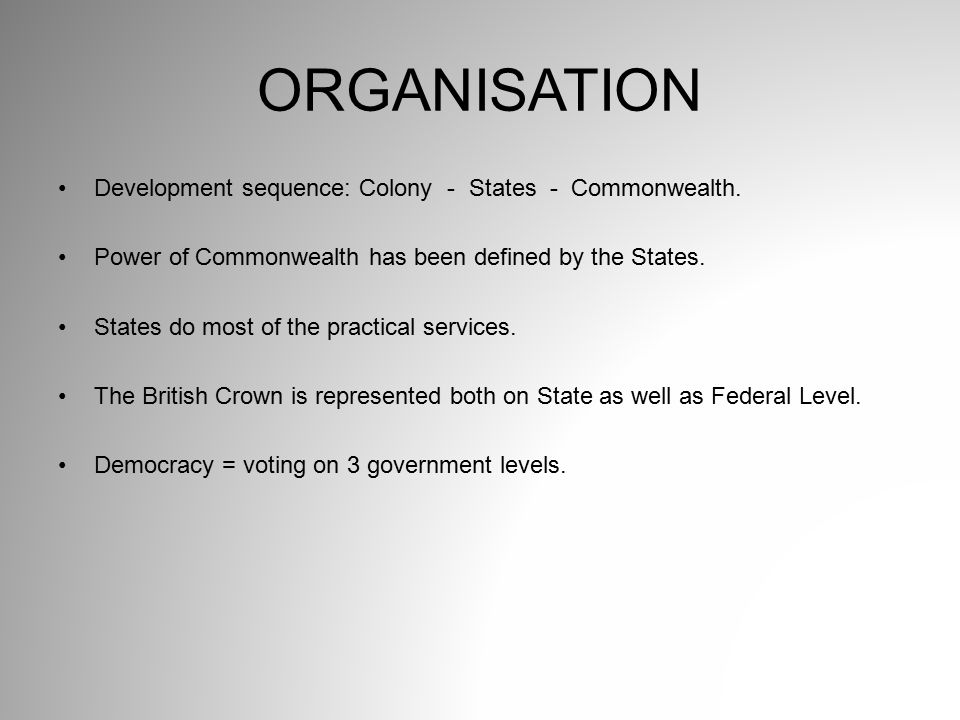 ORGANISATION Development sequence: Colony - States - Commonwealth.