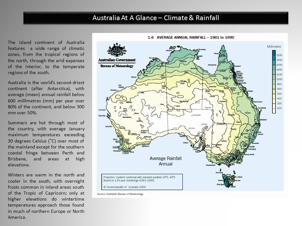 Australia At A Glance – Climate & Rainfall The island continent of Australia features a wide range of climatic zones, from the tropical regions of the north, through the arid expanses of the interior, to the temperate regions of the south.