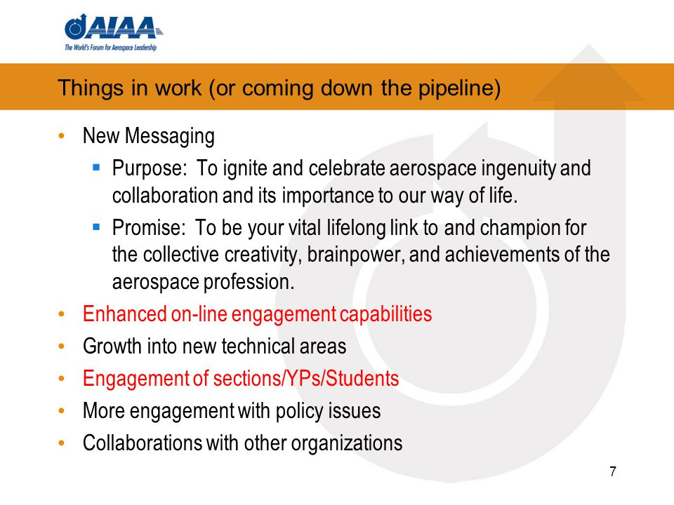 Things in work (or coming down the pipeline) New Messaging  Purpose: To ignite and celebrate aerospace ingenuity and collaboration and its importance