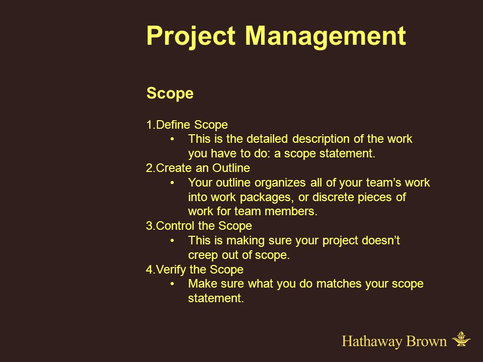 Project Management Scope 1.Define Scope This is the detailed description of the work you have to do: a scope statement.
