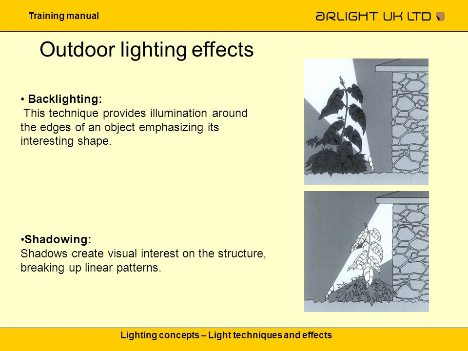 Training manual Lighting concepts – Light techniques and effects Outdoor lighting effects Backlighting: This technique provides illumination around th