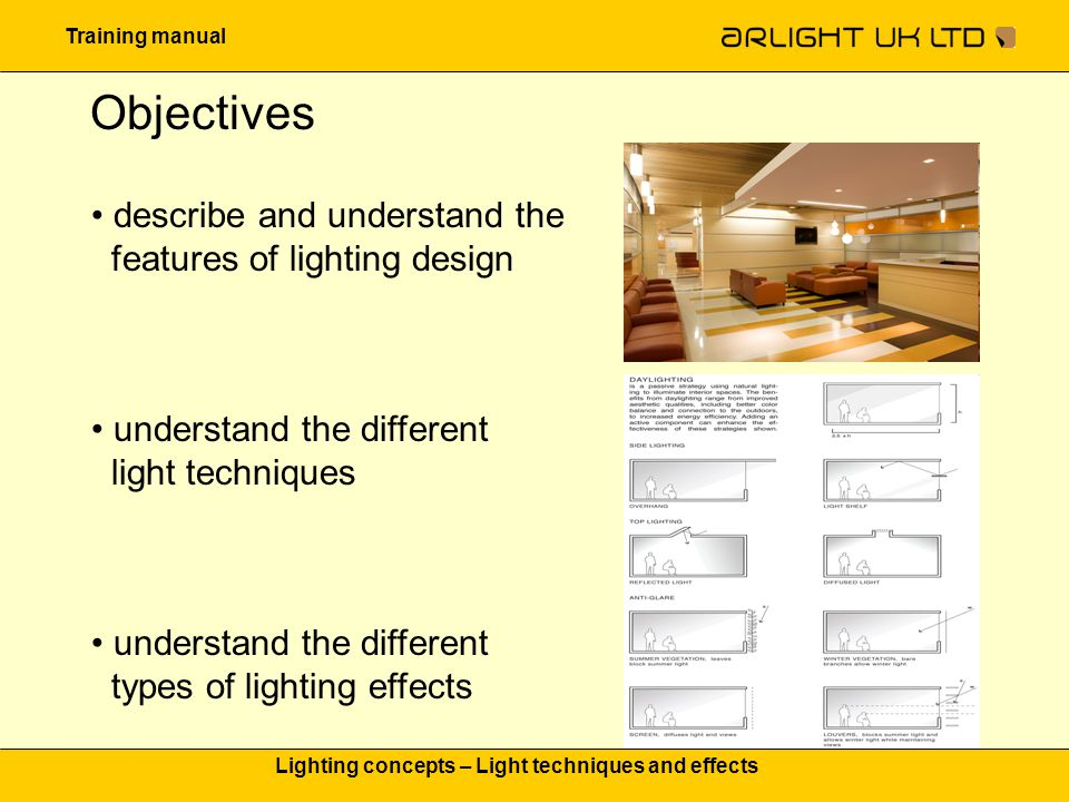 Training manual Lighting concepts – Light techniques and effects Light distribution Direct emitting The most effective form of distributing light and produce shadows Indirect emitting Helps to soften shadows Semi direct emitting No shadows and accentuation of the room Soft light, no dark corners