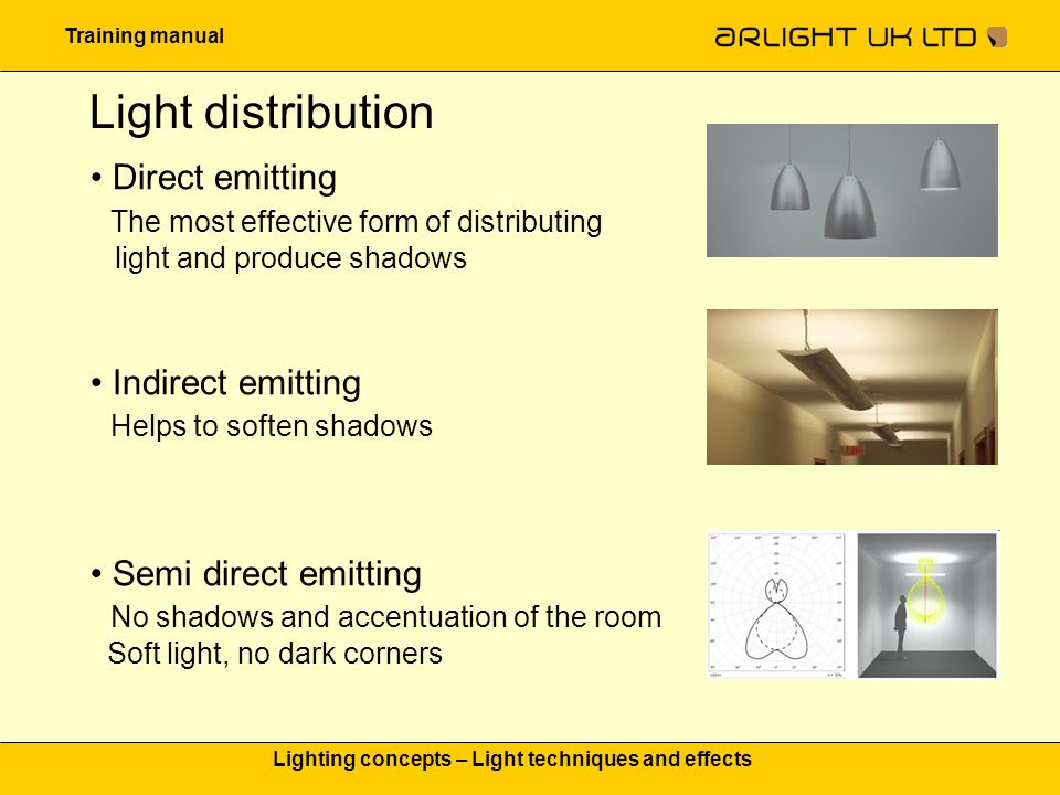 Training manual Lighting concepts – Light techniques and effects Outdoor lighting effects Step Lighting: Steps can be a tripping hazard if not properly lit.