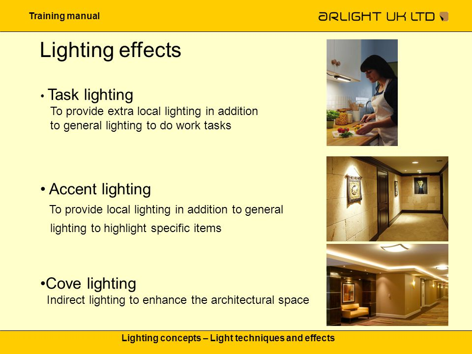 Training manual Lighting concepts – Light techniques and effects Lighting effects Orientation lighting To help allow walking around without accidents Mirror lighting Diffuse, shadow free light on the face Decor lighting Light which adds decorative lighting elements to the interior