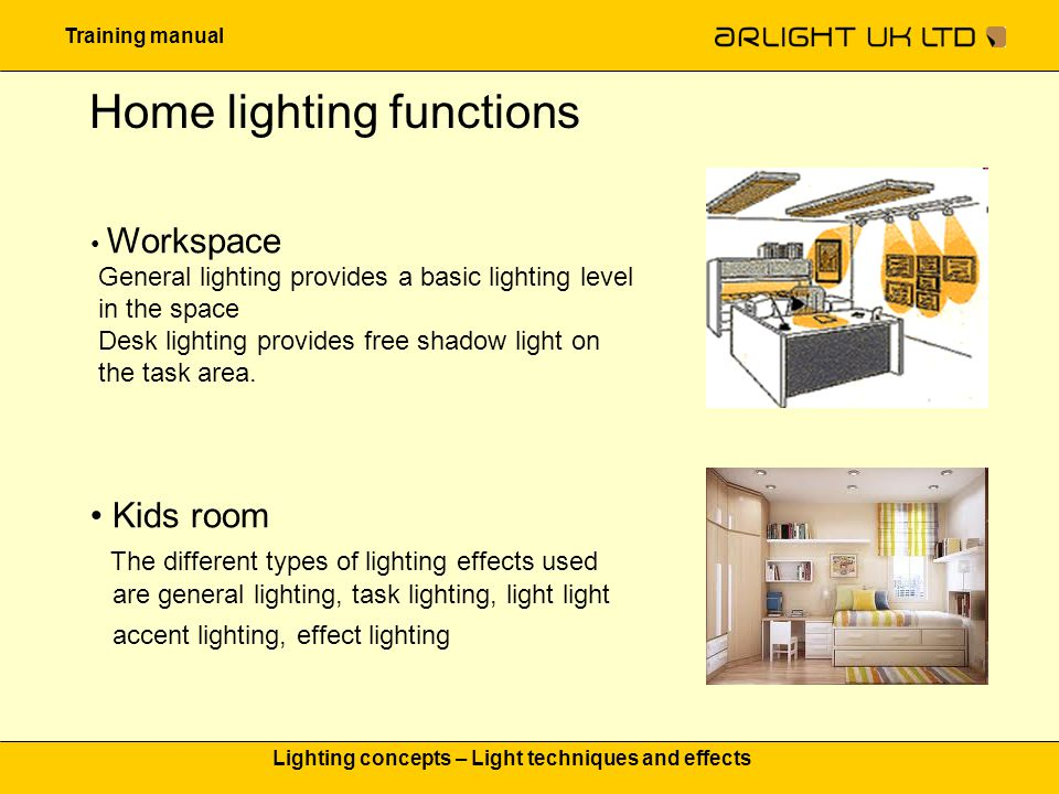 Training manual Lighting concepts – Light techniques and effects Home lighting functions Bathroom Lighting effects used: 1.General lighting : to improve the overall look and feel of the bathroom and set the ambiance 2.Shower lighting:to keep you safe in wet conditions 3.Mirror lighting:for precision tasks like shaving, applying make-up and teeth brushing 4.Orientation lighting:for creating some playful accents as well as for guiding light during the night