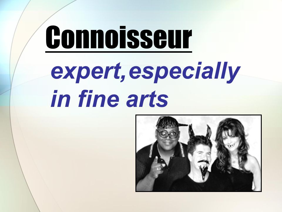 expert, especially in fine arts Connoisseur