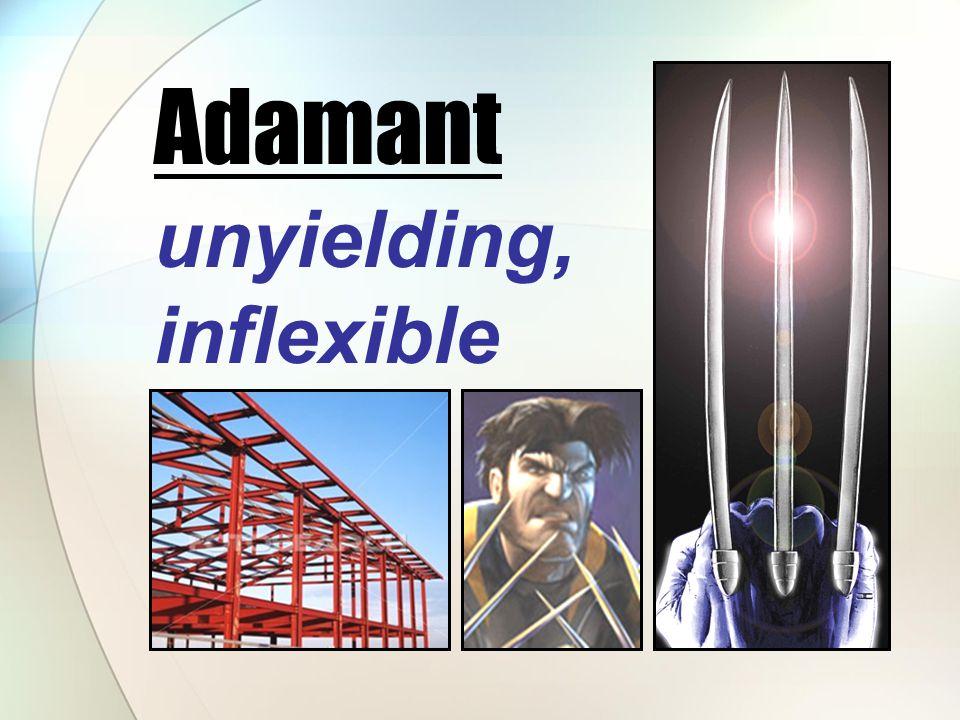 unyielding, inflexible Adamant