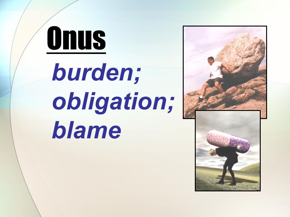 burden; obligation; blame Onus
