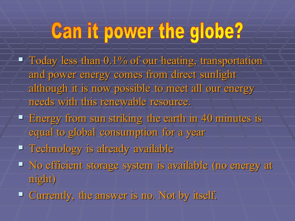  Today less than 0.1% of our heating, transportation and power energy comes from direct sunlight although it is now possible to meet all our energy needs with this renewable resource.