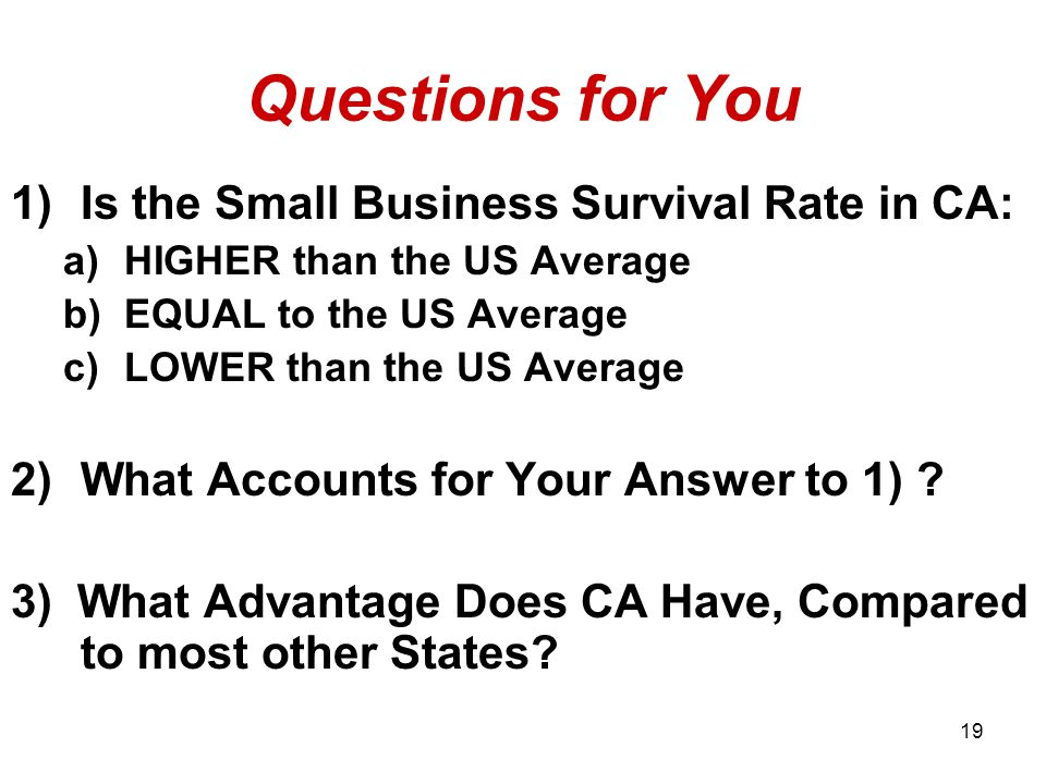 Questions for You 1)Is the Small Business Survival Rate in CA: a)HIGHER than the US Average b)EQUAL to the US Average c)LOWER than the US Average 2)What Accounts for Your Answer to 1) .