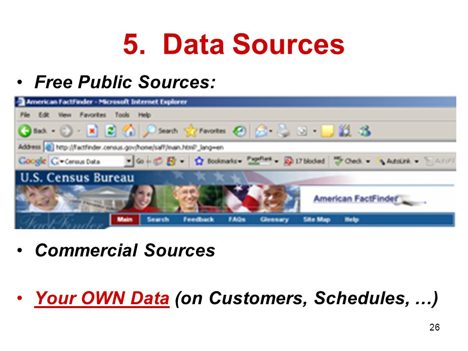 Free Public Sources: Commercial Sources Your OWN Data (on Customers, Schedules, …) 5. Data Sources 26