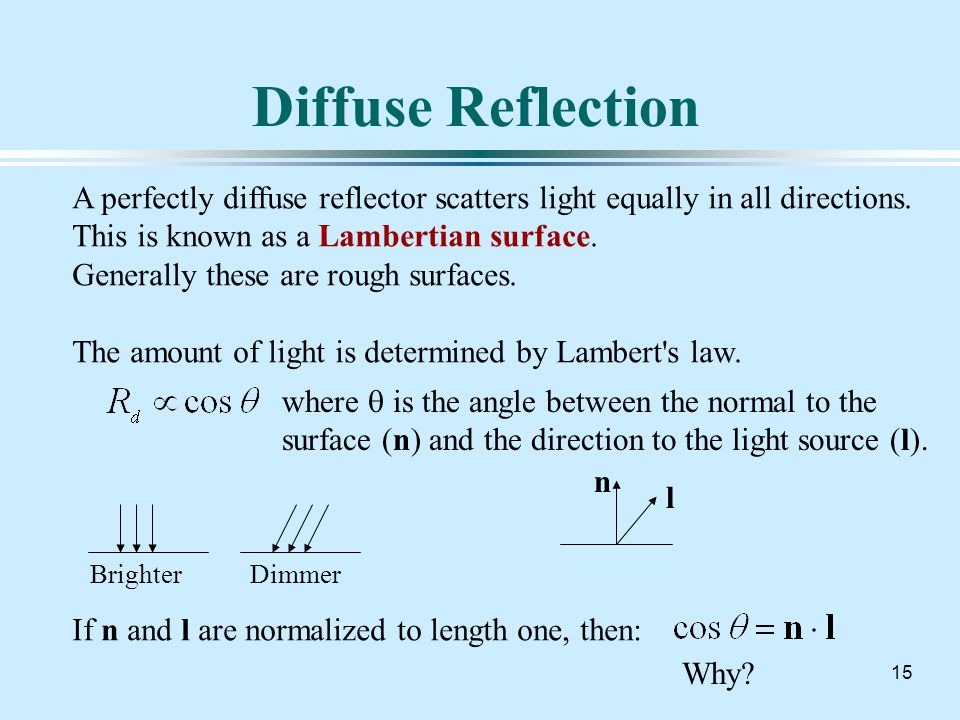 15 Diffuse Reflection A perfectly diffuse reflector scatters light equally in all directions.