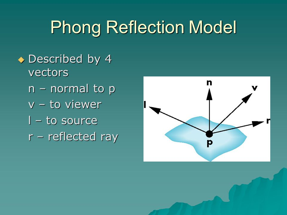 Phong Reflection Model  Described by 4 vectors n – normal to p v – to viewer l – to source r – reflected ray
