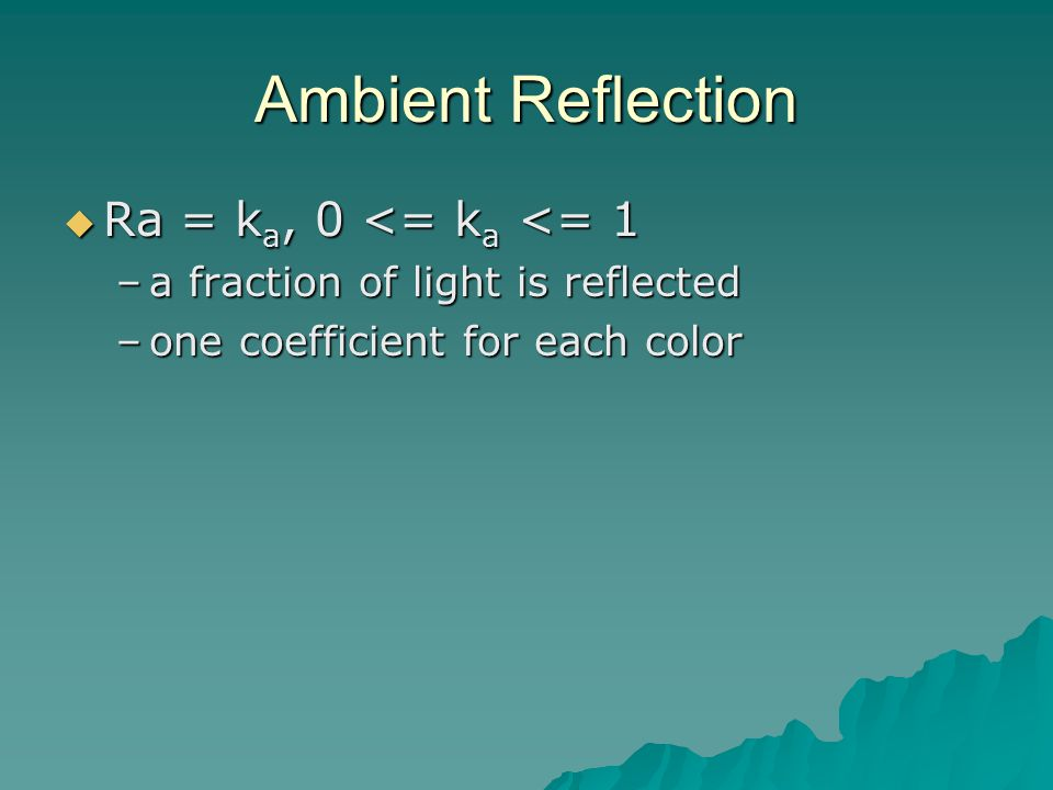 Ambient Reflection  Ra = k a, 0 <= k a <= 1 –a fraction of light is reflected –one coefficient for each color