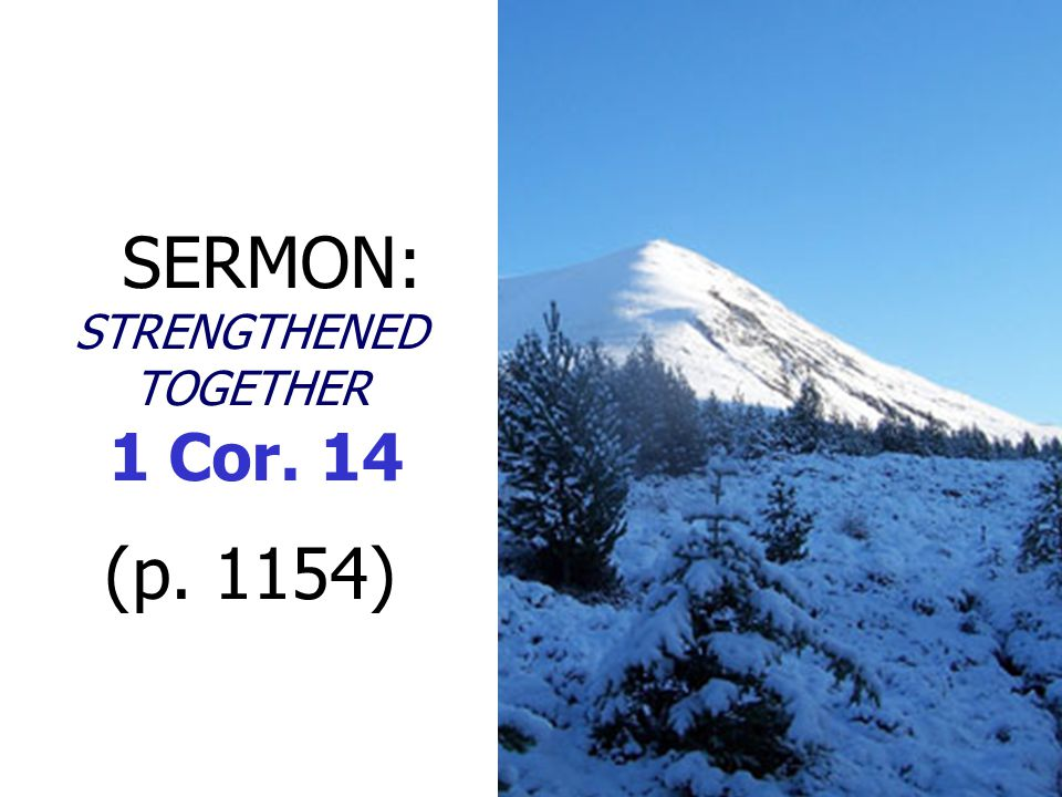 SERMON: STRENGTHENED TOGETHER 1 Cor. 14 (p. 1154)