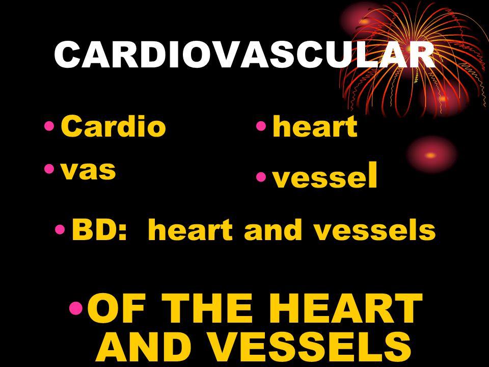 CARDIOVASCULAR Cardio vas heart vesse l BD: heart and vessels OF THE HEART AND VESSELS