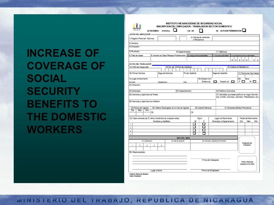 INCREASE OF COVERAGE OF SOCIAL SECURITY BENEFITS TO THE DOMESTIC WORKERS