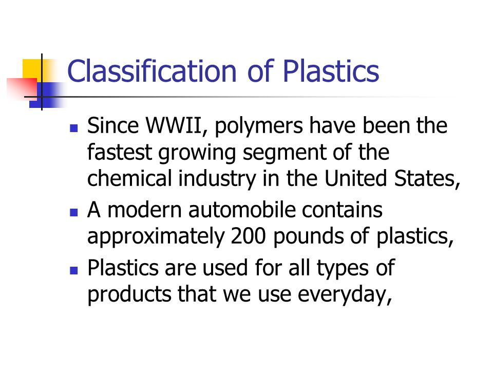 Classification of Plastics Since WWII, polymers have been the fastest growing segment of the chemical industry in the United States, A modern automobile contains approximately 200 pounds of plastics, Plastics are used for all types of products that we use everyday,