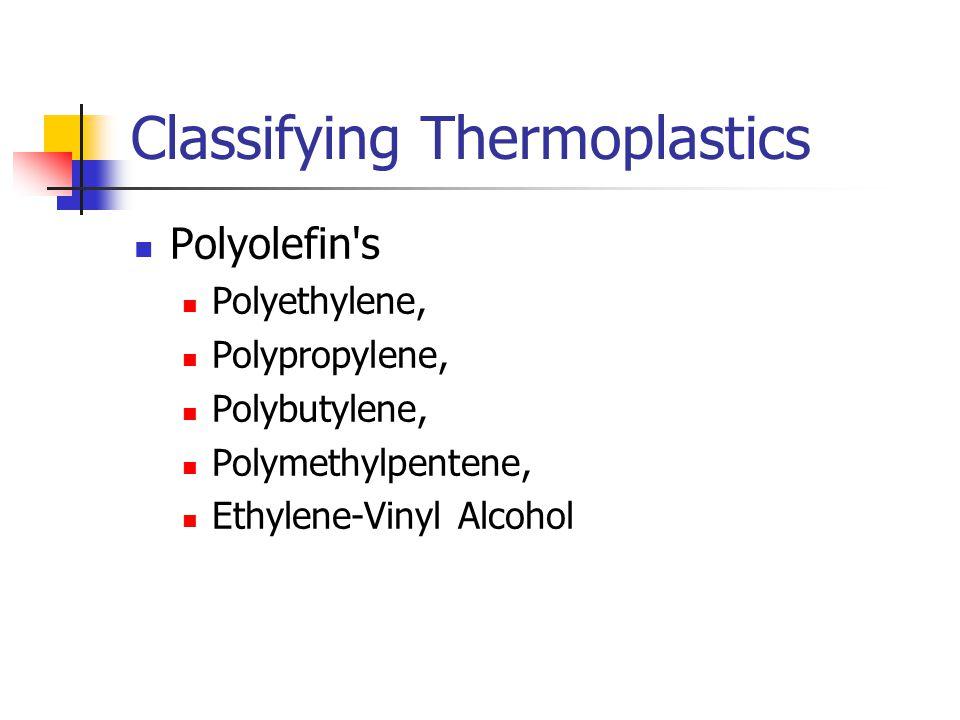 Classifying Thermoplastics Polyolefin s Polyethylene, Polypropylene, Polybutylene, Polymethylpentene, Ethylene-Vinyl Alcohol