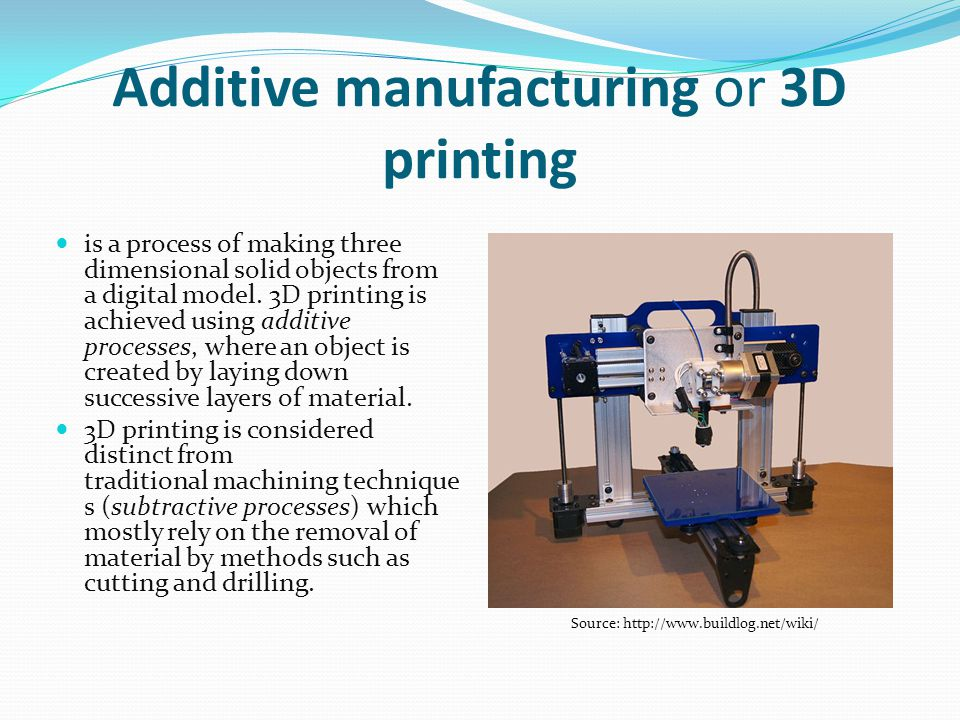 3D printing is usually performed by a materials printer using digital technology.