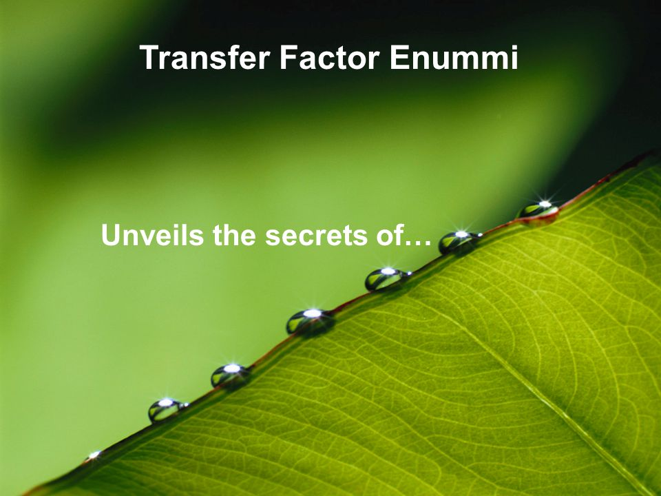 Unveils the secrets of… Transfer Factor Enummi