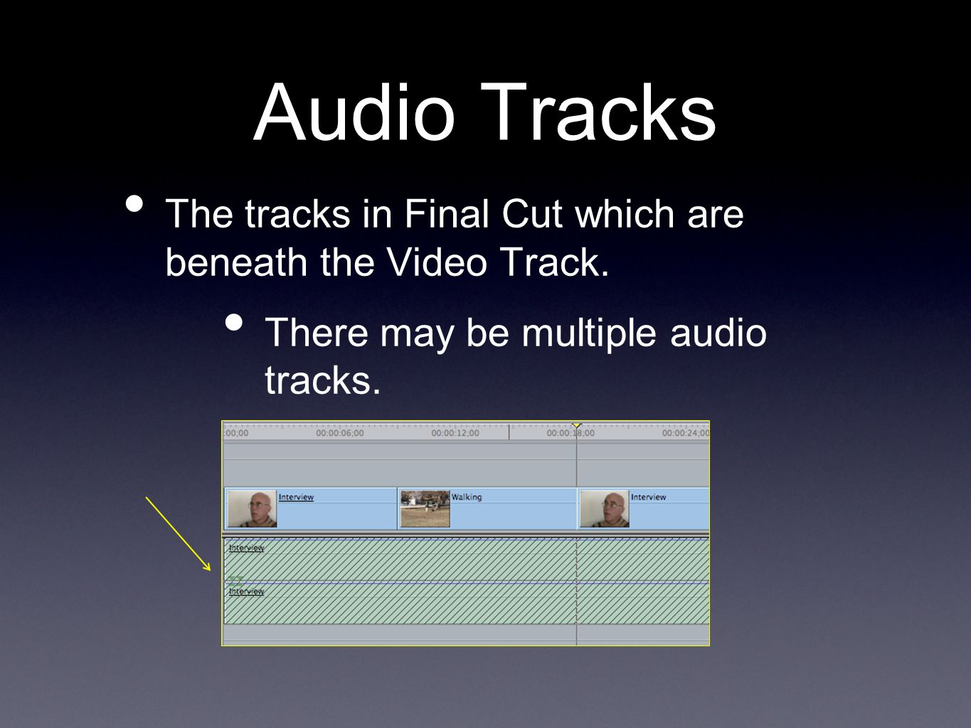 Audio Tracks The tracks in Final Cut which are beneath the Video Track.