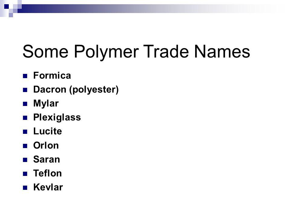 Some Polymer Trade Names Formica Dacron (polyester) Mylar Plexiglass Lucite Orlon Saran Teflon Kevlar