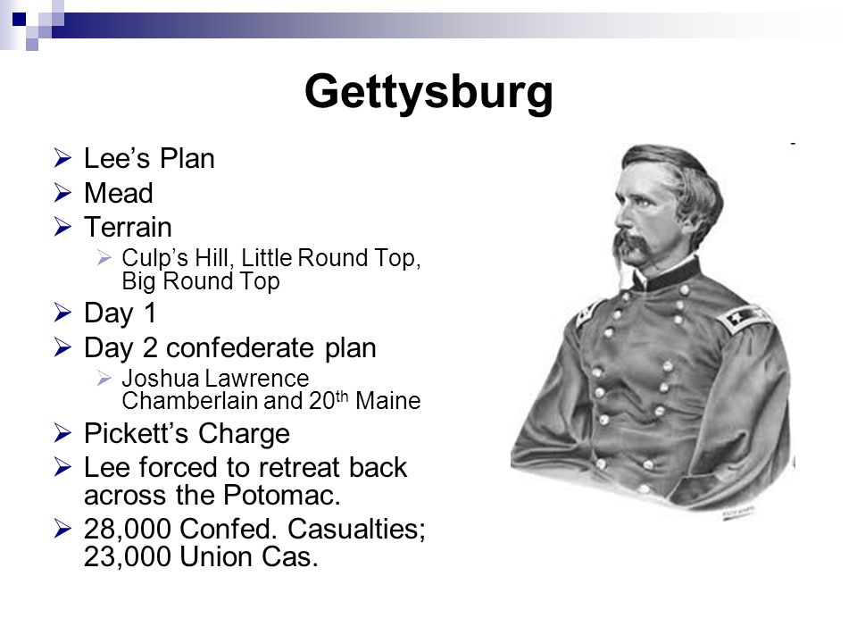 Gettysburg  Lee's Plan  Mead  Terrain  Culp's Hill, Little Round Top, Big Round Top  Day 1  Day 2 confederate plan  Joshua Lawrence Chamberlain