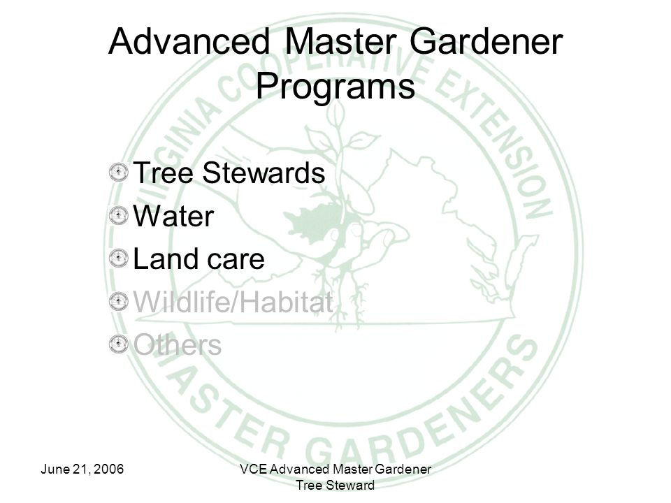 June 21, 2006VCE Advanced Master Gardener Tree Steward Advanced Master Gardener Programs Tree Stewards Water Land care Wildlife/Habitat Others