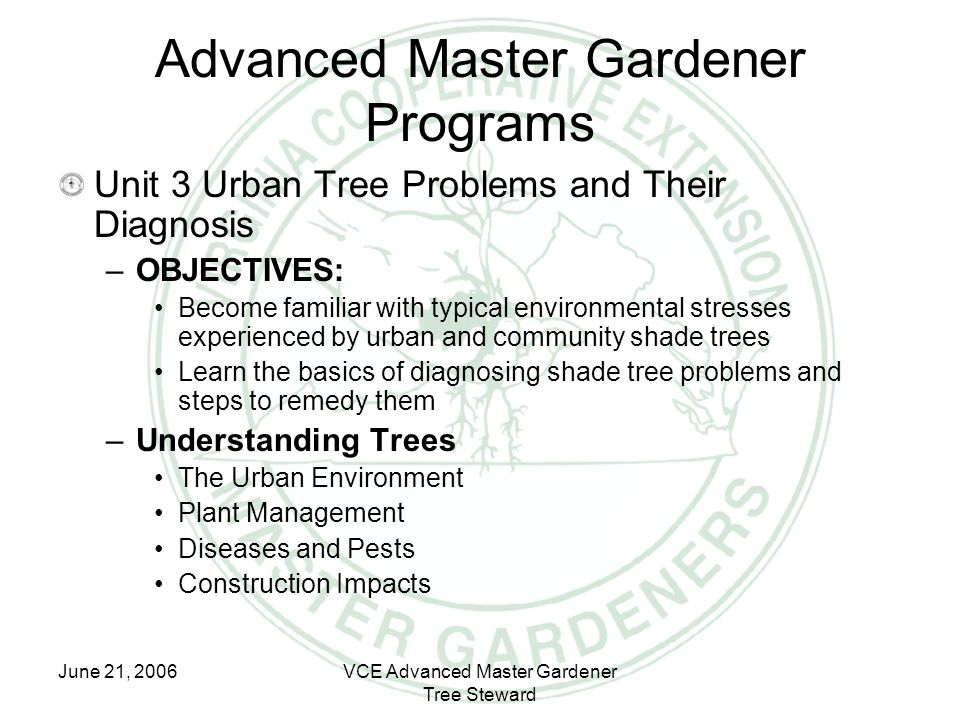 June 21, 2006VCE Advanced Master Gardener Tree Steward Advanced Master Gardener Programs Unit 3 Urban Tree Problems and Their Diagnosis –OBJECTIVES: B