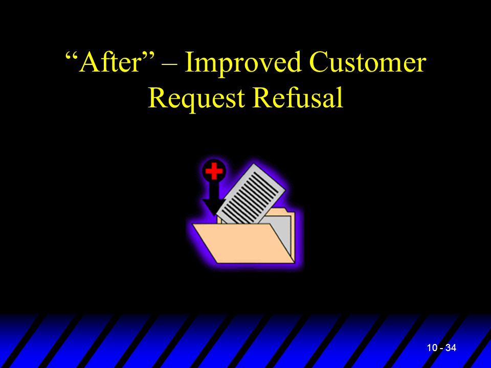 10 - 34 After – Improved Customer Request Refusal