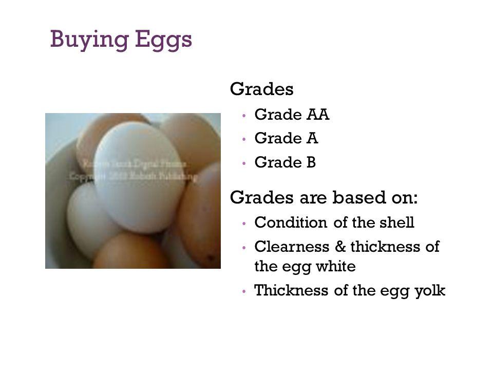 Buying Eggs Grades Grade AA Grade A Grade B Grades are based on: Condition of the shell Clearness & thickness of the egg white Thickness of the egg yo