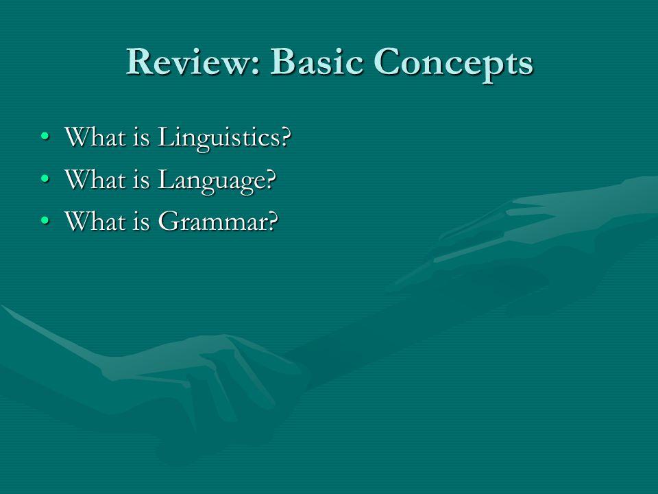 Review: Basic Concepts What is Linguistics What is Linguistics.