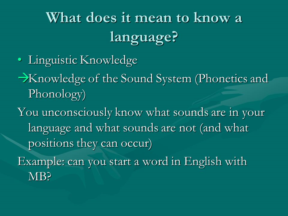 What does it mean to know a language.