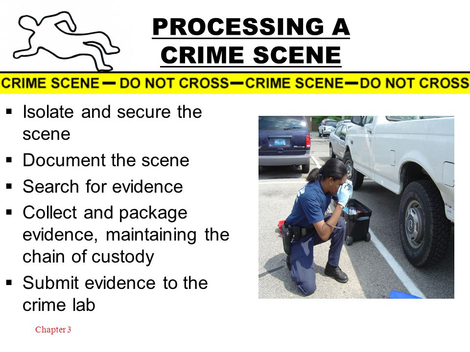 Chapter 3 PROCESSING A CRIME SCENE  Isolate and secure the scene  Document the scene  Search for evidence  Collect and package evidence, maintaining the chain of custody  Submit evidence to the crime lab