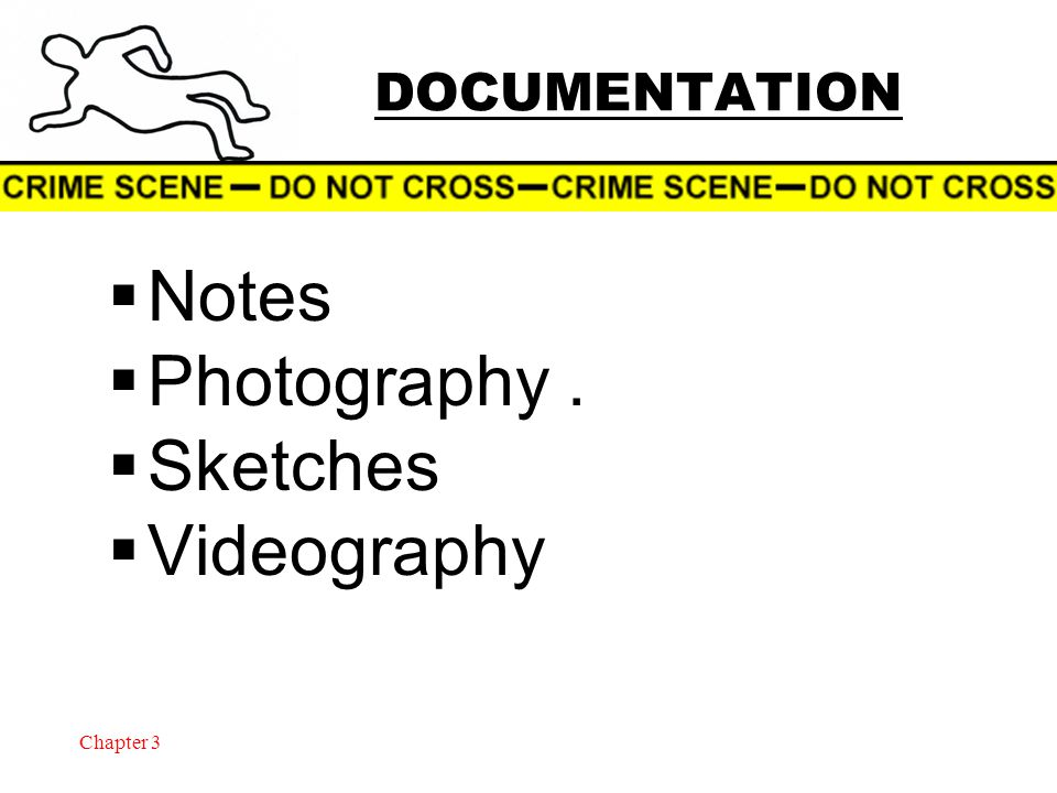 Chapter 3 DOCUMENTATION  Notes  Photography.  Sketches  Videography