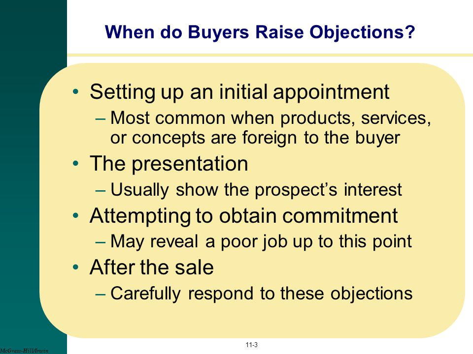 Setting up an initial appointment –Most common when products, services, or concepts are foreign to the buyer The presentation –Usually show the prospe